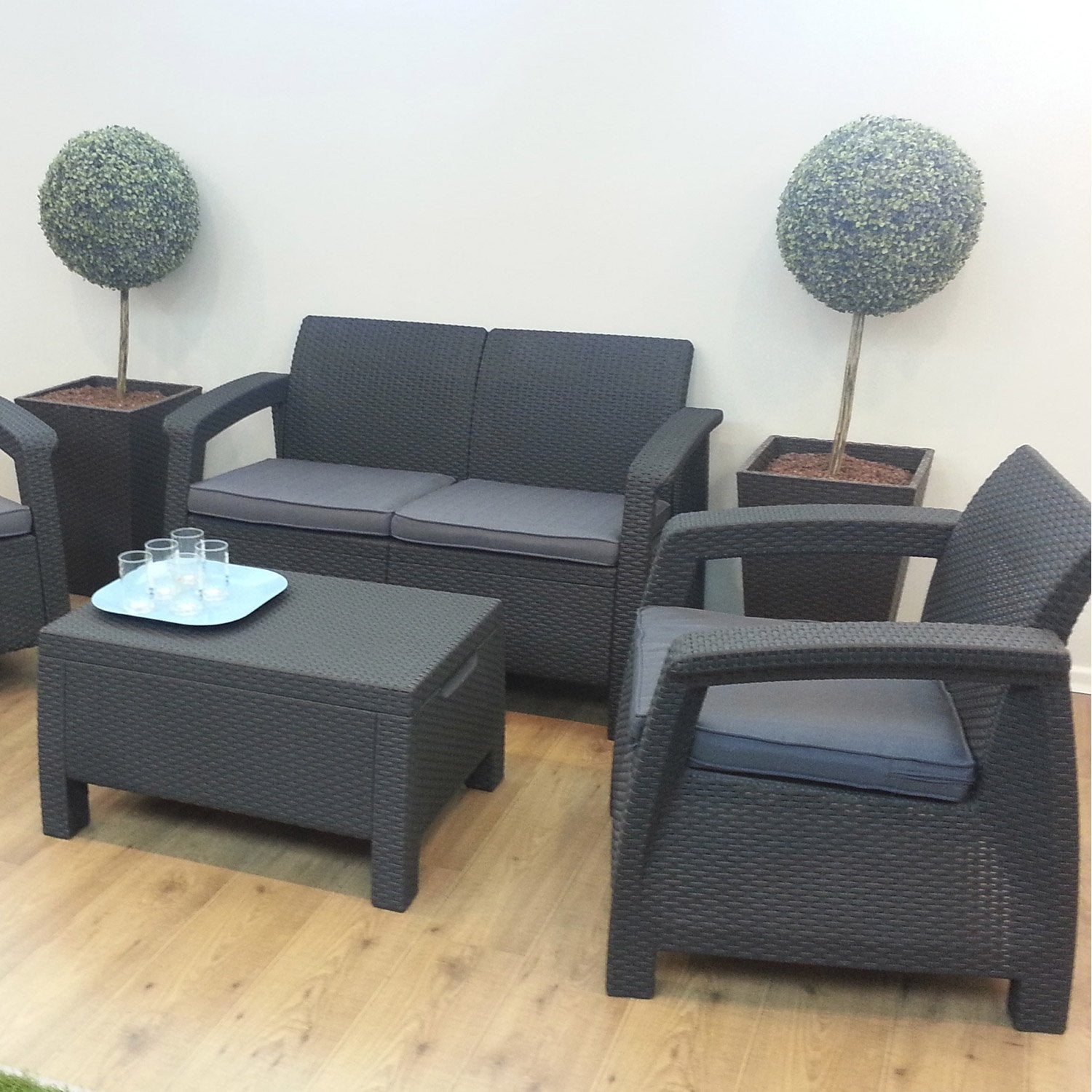 Table et chaise de jardin en plastique carrefour - Salon de jardin allibert new york gris anthracite ...