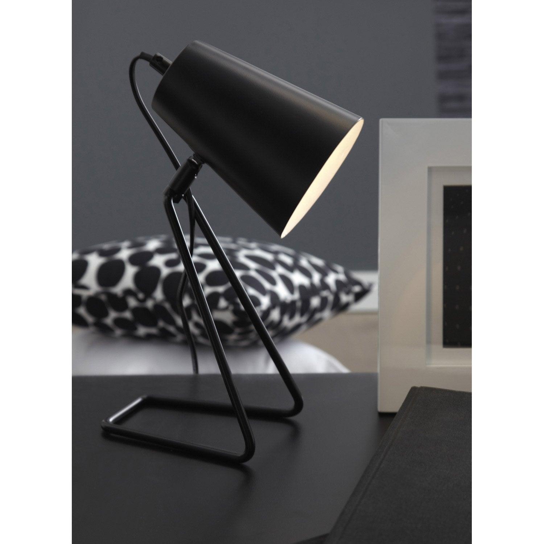 Lampe moeta inspire m tal noir 40 w leroy merlin - Lampe de chevet noir et argent ...