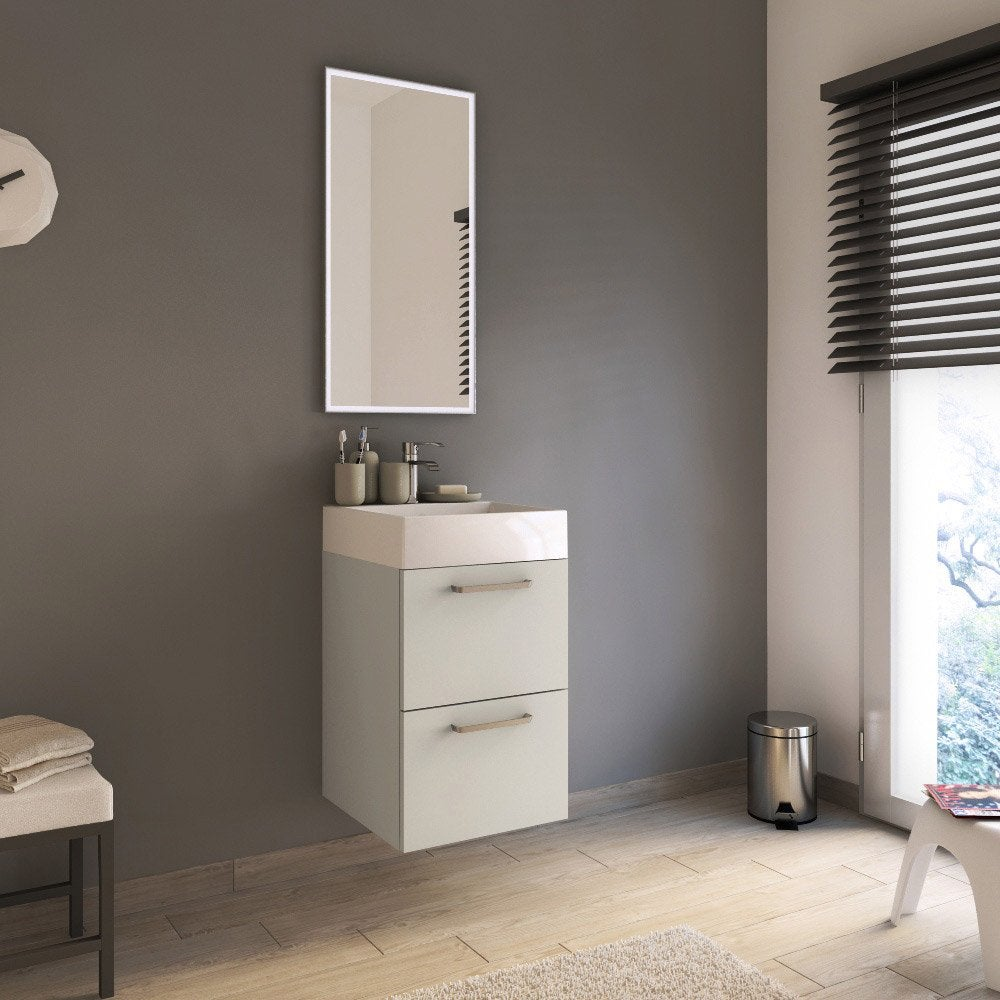 Meuble de salle de bains moins de 60 blanc beige - Meuble salle de bain beige ...