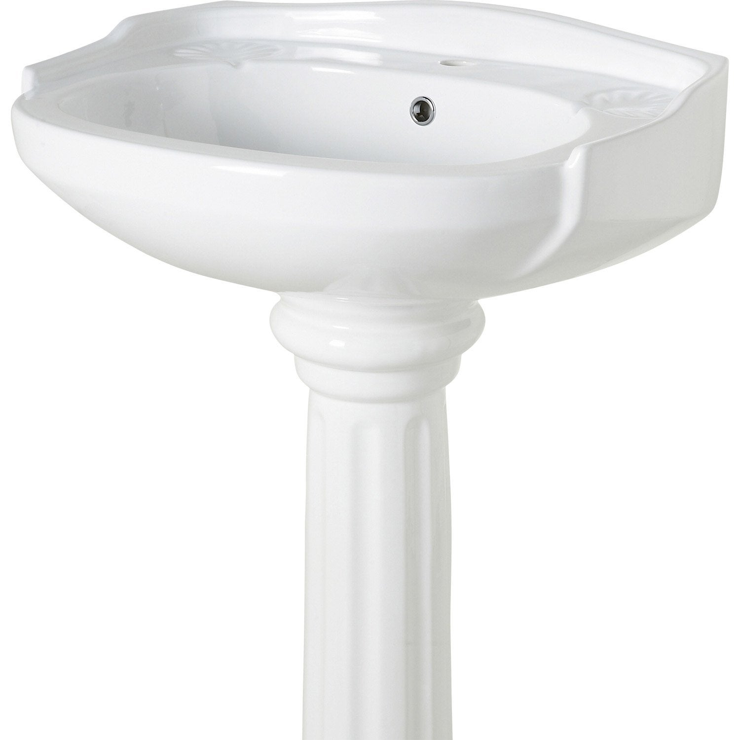 Lavabo pour colonne en c ramique blanc retro leroy merlin for Mobile lavabo leroy merlin