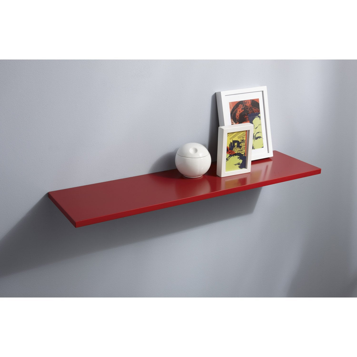 Tablette d corative punch spaceo en mdf rouge rouge n 3 60x15 cm p 18 mm - Tablette murale rouge ...
