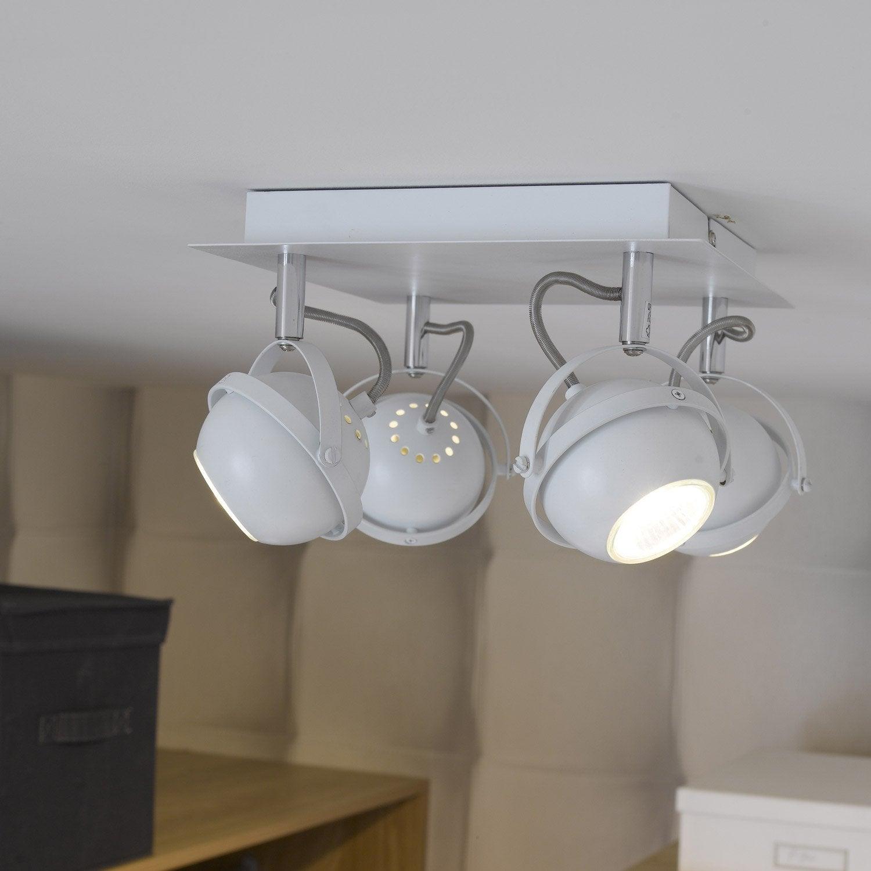 plafonnier 4 spots halog ne 4 x gu10 blanc sphera brilliant leroy merlin. Black Bedroom Furniture Sets. Home Design Ideas