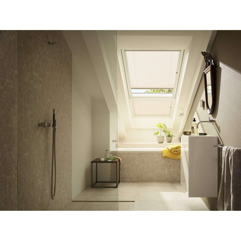 Store fenêtre de toit vénitien manuel blanc VELUX Pal m04 | Leroy Merlin