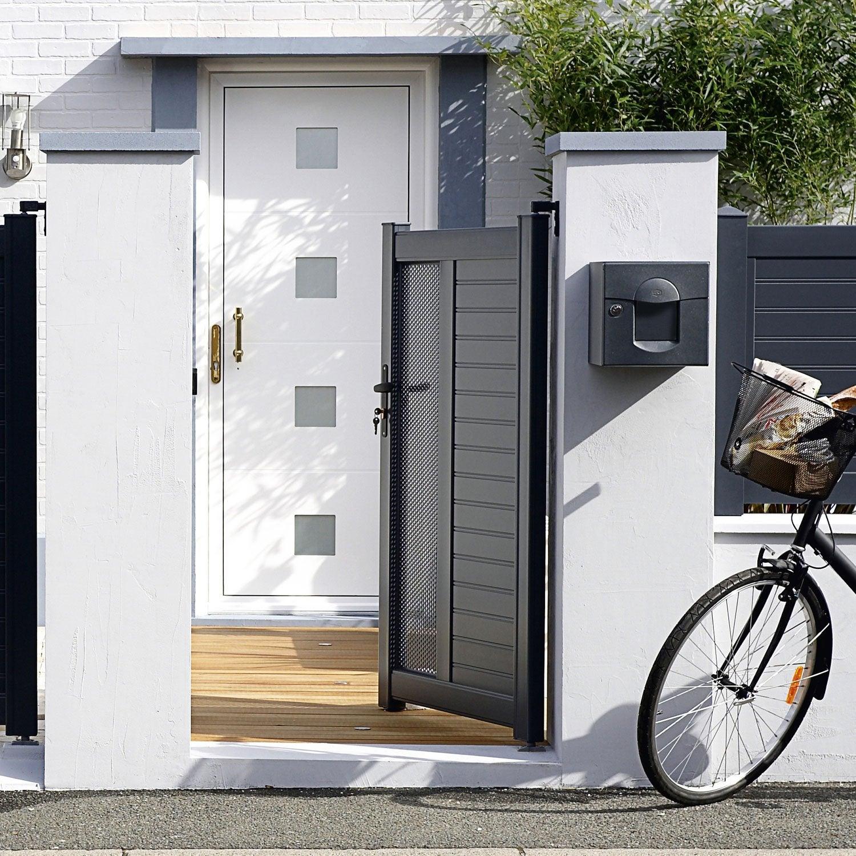 portillon battant naterial erquy x cm gris anthracite leroy merlin. Black Bedroom Furniture Sets. Home Design Ideas