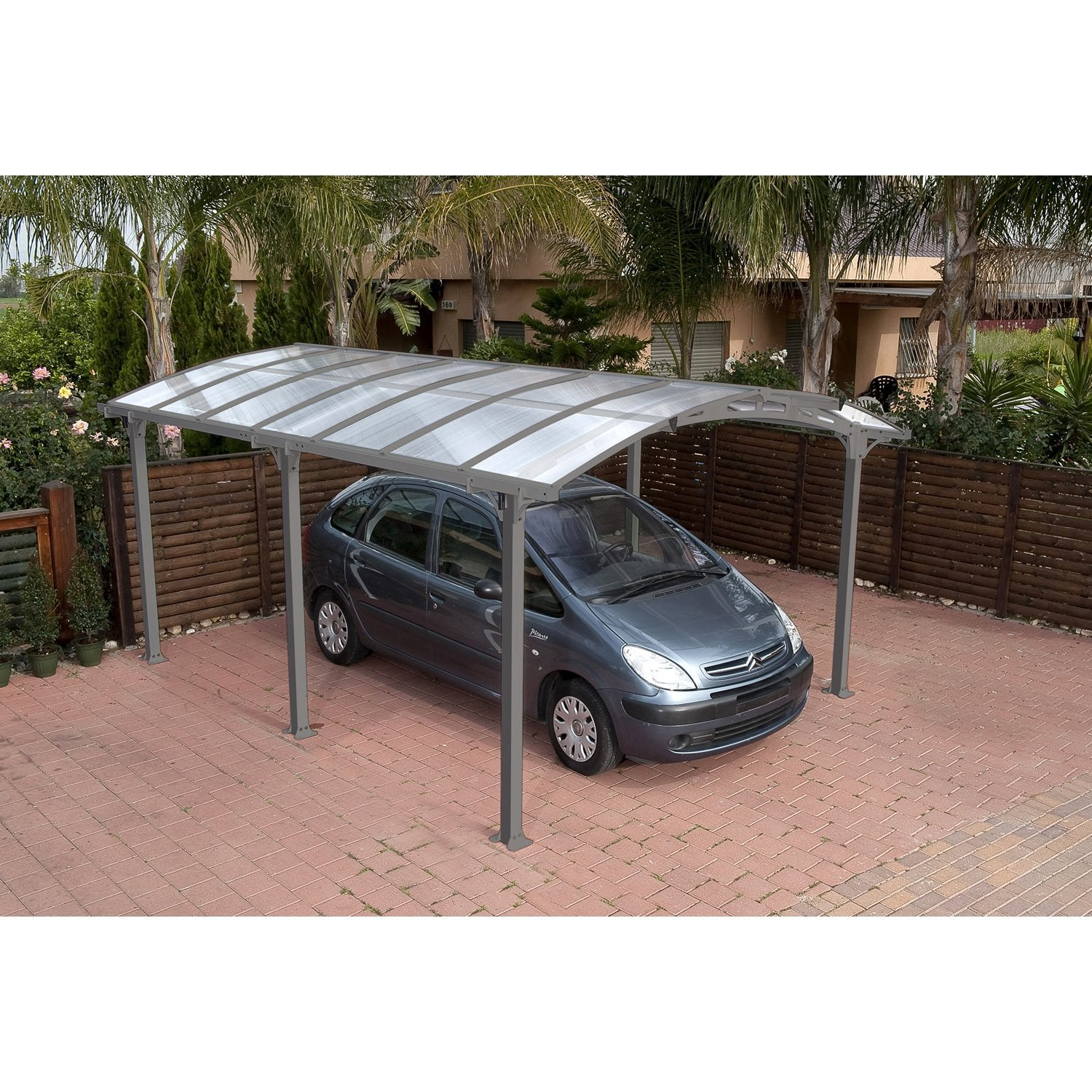 Carport m tal arcadia 1 voiture m leroy merlin for Garage exterieur voiture