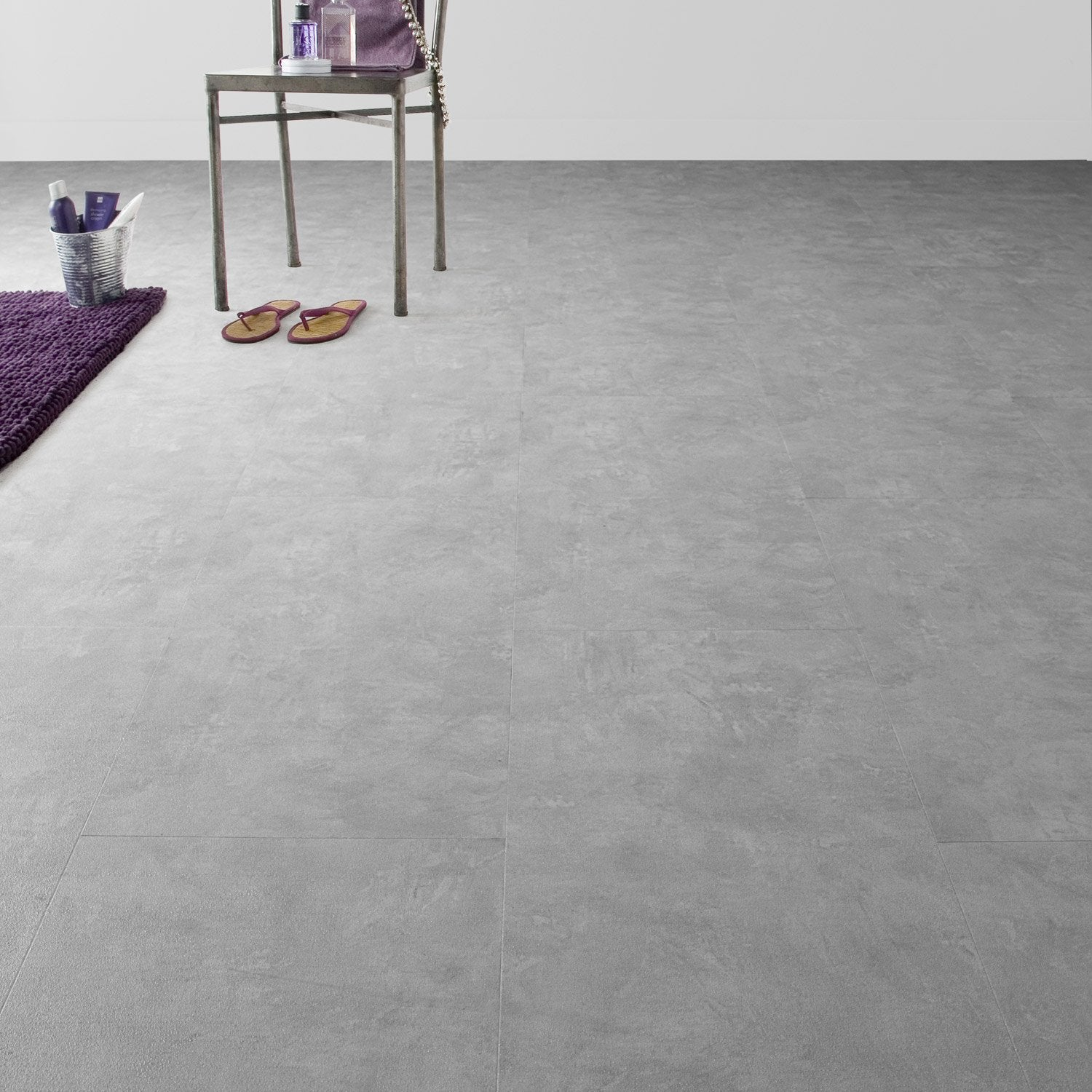 Dalle pvc clipsable gris industry clear senso lock gerflor - Sol pvc clipsable leroy merlin ...