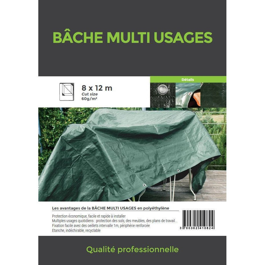 B Che De Protection En Pe Rectangulaire 800 X 1200 Cm Bleu