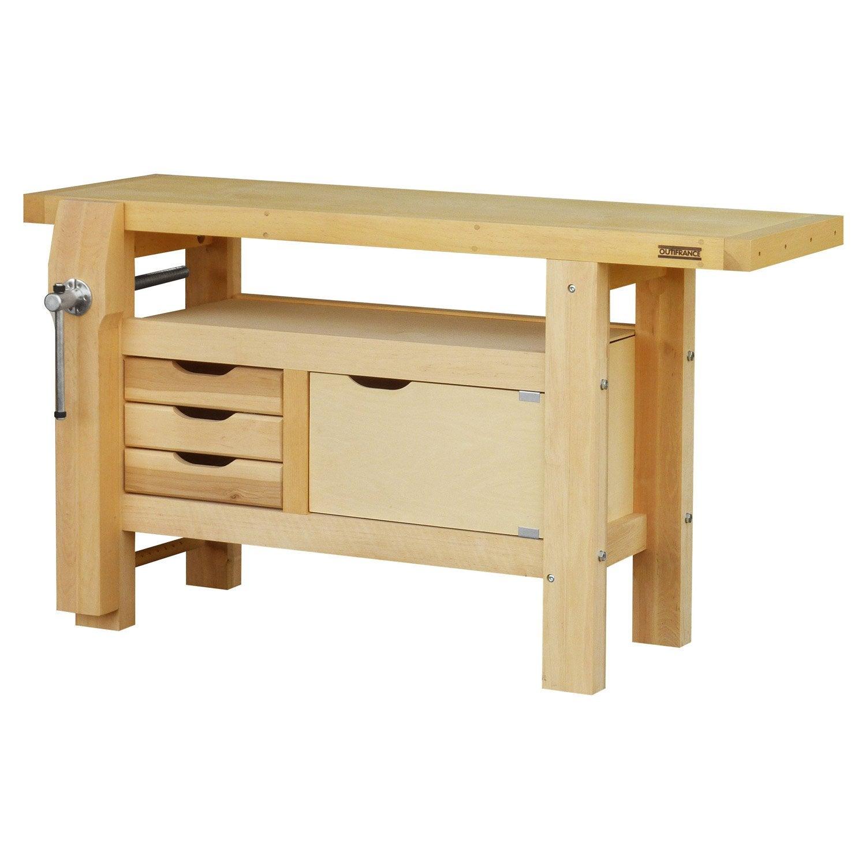 Etabli en bois outifrance 1m50 avec 1 porte leroy merlin for Construire meuble bois