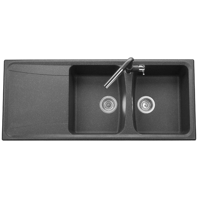 evier encastrer granit et r sine noir roxana 2 bacs avec gouttoir leroy. Black Bedroom Furniture Sets. Home Design Ideas