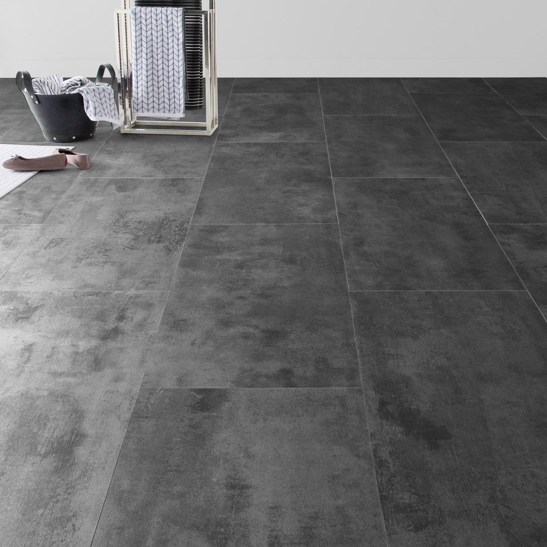 Dalle De Bois Pour Sol Interieur : Dalle PVC clic zinc ARTENS zinc m?tal, 65.5 x 32.4 cm Leroy Merlin
