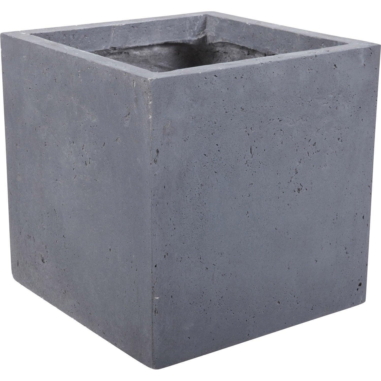 Pot fibre x cm gris leroy merlin - Pot exterieur gris ...