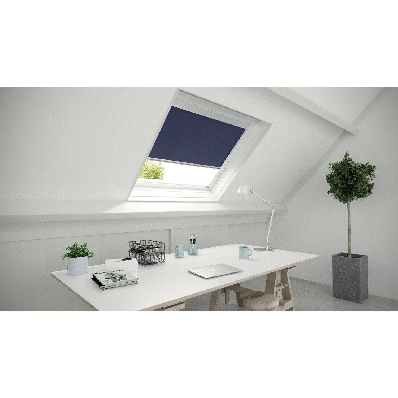 Store fen tre de toit occultant bleu inspire leroy merlin for Store fenetre de toit