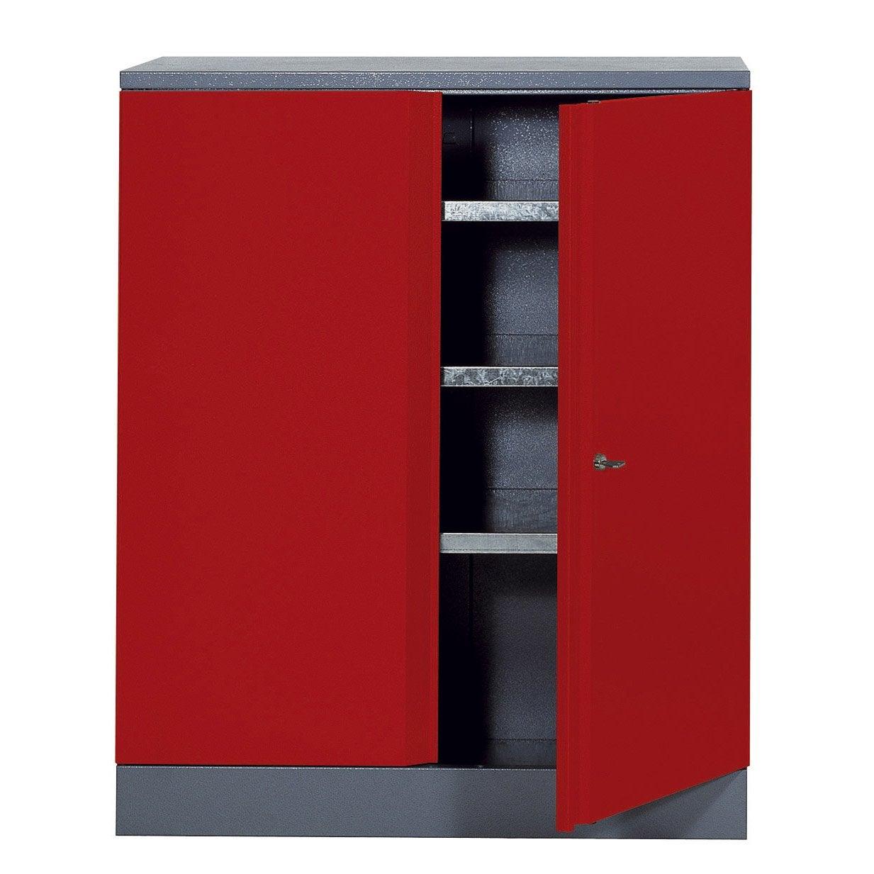 Armoire de rangement en m tal rouge kupper 91 cm 1 porte for Armoire de rangement leroy merlin