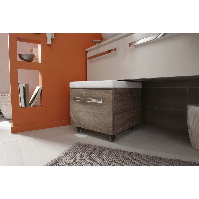 assise roulettes rangement x x cm imitation ch ne gris neo leroy merlin. Black Bedroom Furniture Sets. Home Design Ideas