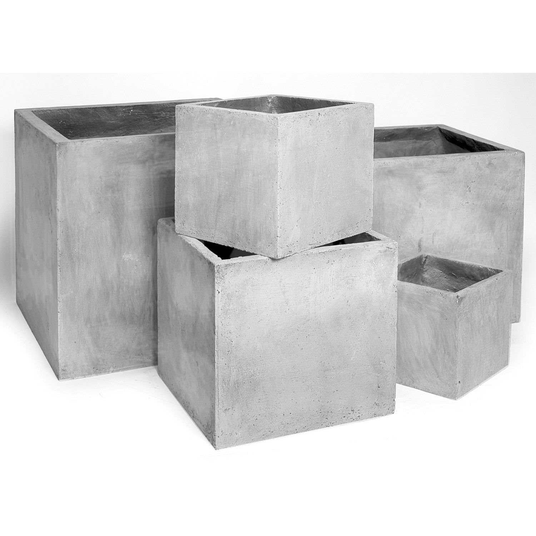 pot fibre x x cm gris ciment leroy merlin. Black Bedroom Furniture Sets. Home Design Ideas