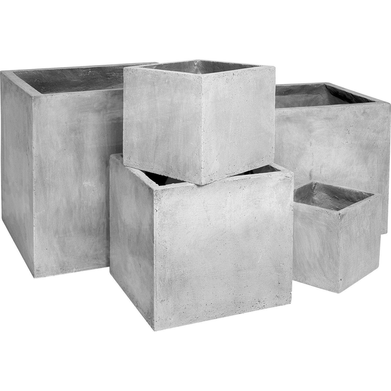 pot en fibre l 40 x h 40 x l 30 cm gris ciment leroy merlin. Black Bedroom Furniture Sets. Home Design Ideas