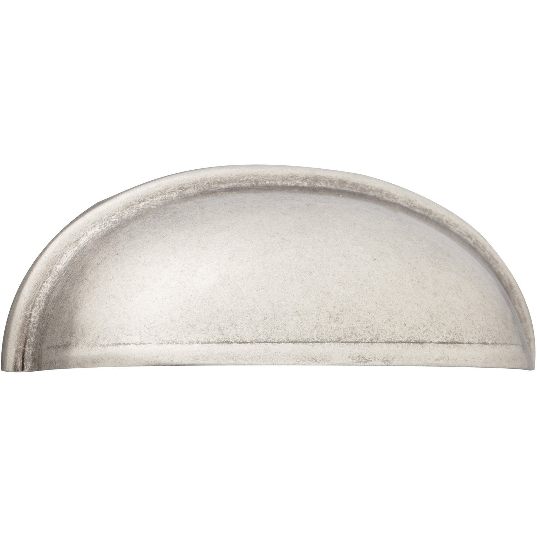 Poign e de meuble en acier mat cup entraxe 64 mm leroy - Poignee de placard cuisine ...