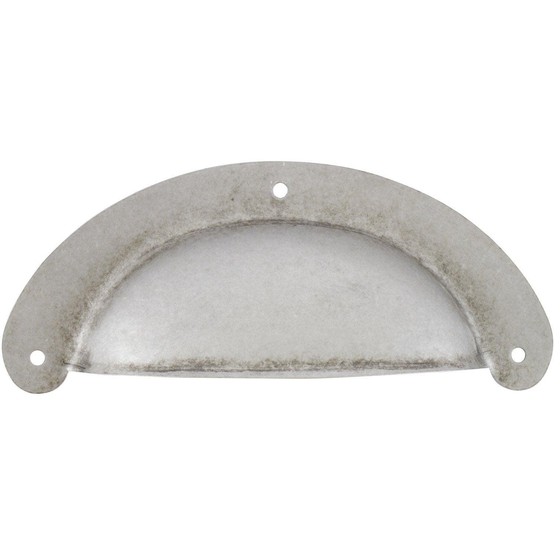 Poign e de meuble coquille acier forg entraxe 90 mm for Leroy merlin poignee de meuble