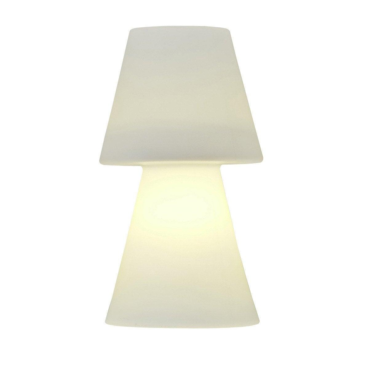 lampe poser lola h 30 cm e27 blanc leroy merlin
