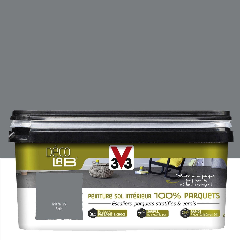 Peinture sol intérieur Decolab sol 100% parquet V33, gris factory ...