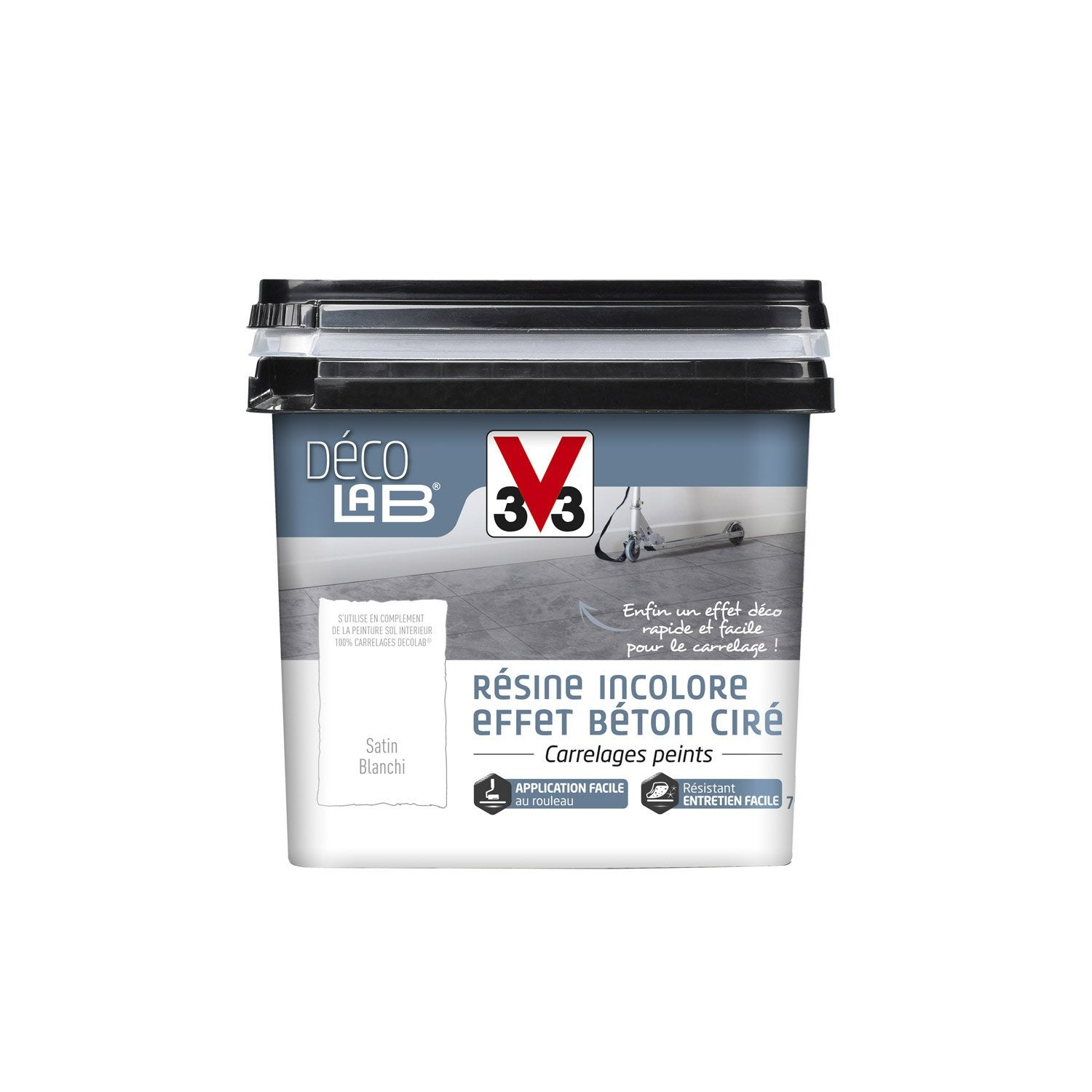 Peinture sol int rieur decolab r sine de finition v33 blanc leroy merlin for Peinture renovation carrelage sol v