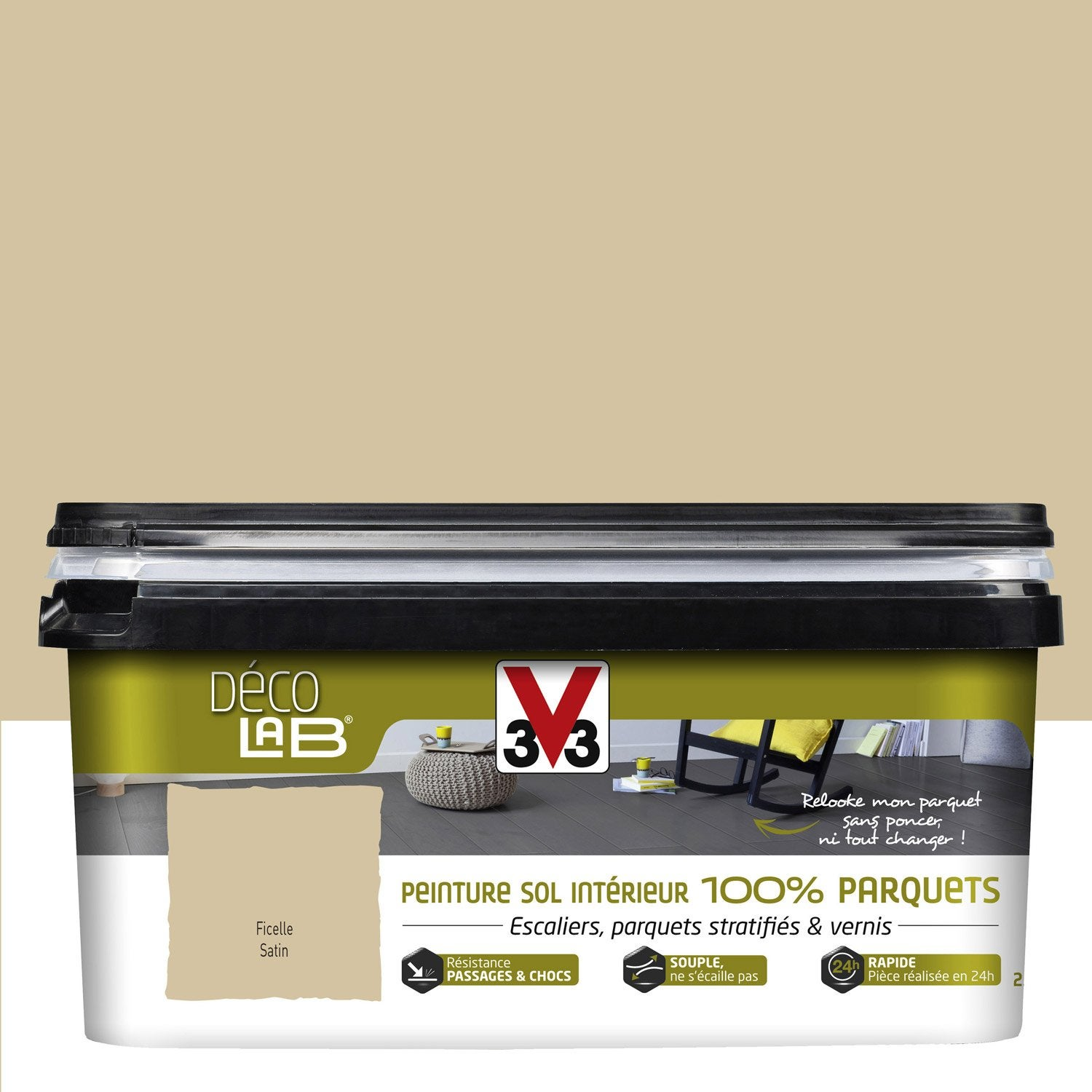 Peinture sol int rieur decolab sol 100 parquet v33 beige for Peinture renovation carrelage v33