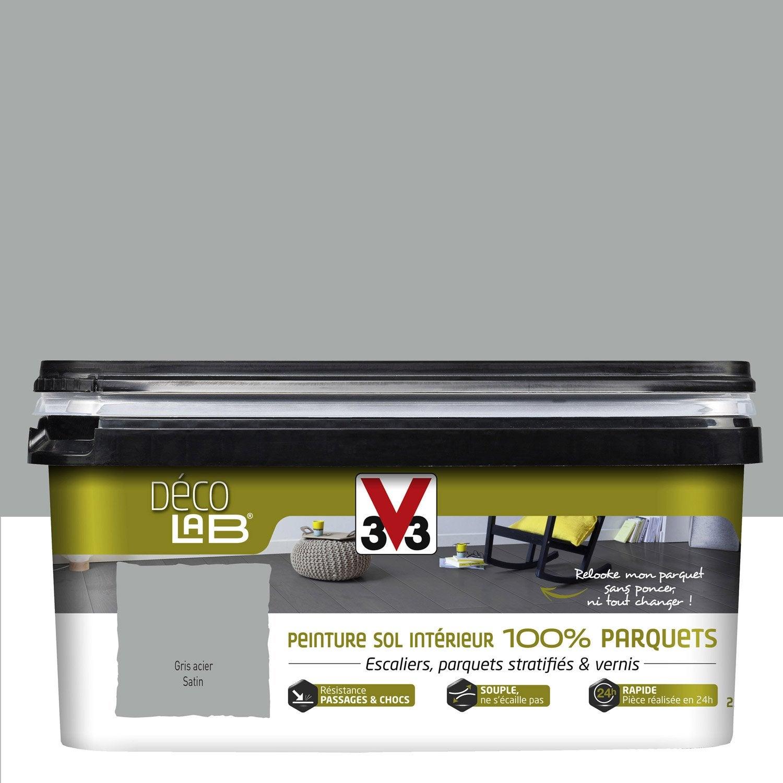 Peinture sol intérieur Decolab sol 100% parquet V33, blanc, 2.5 l ...