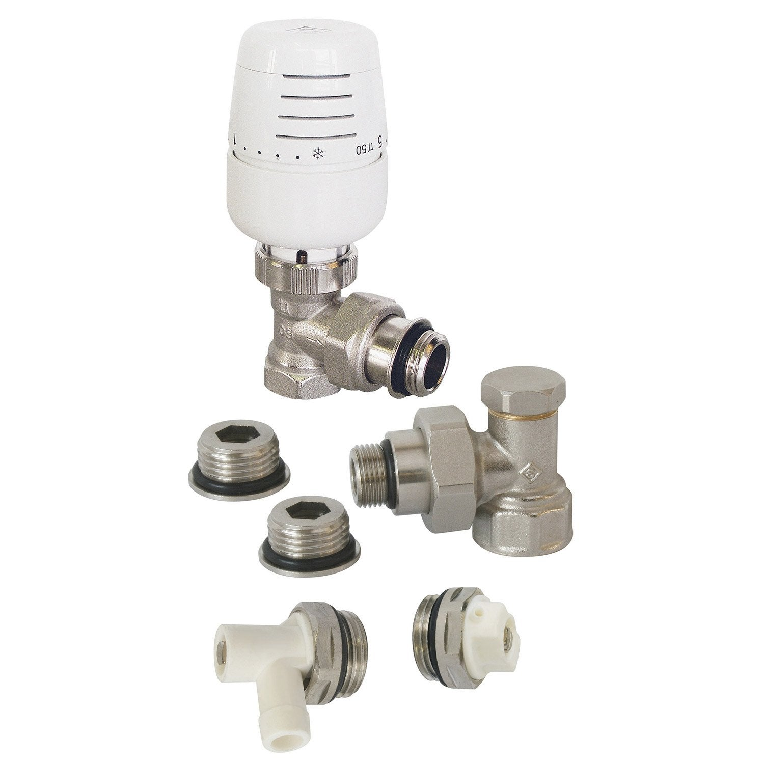 Kit robinet thermostatique equerre laiton blanc ecopro leroy merlin - Thermostat leroy merlin ...