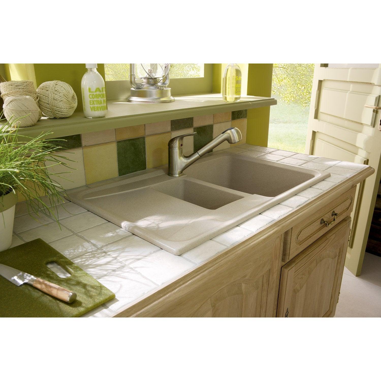 evier encastrer granit et r sine beige roxana 1 5 bac avec gouttoir leroy merlin. Black Bedroom Furniture Sets. Home Design Ideas