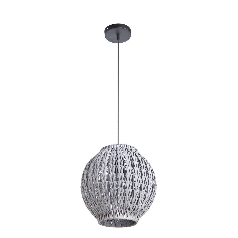 suspension nature tahia rotin gris 1 x 60 w lussiol. Black Bedroom Furniture Sets. Home Design Ideas