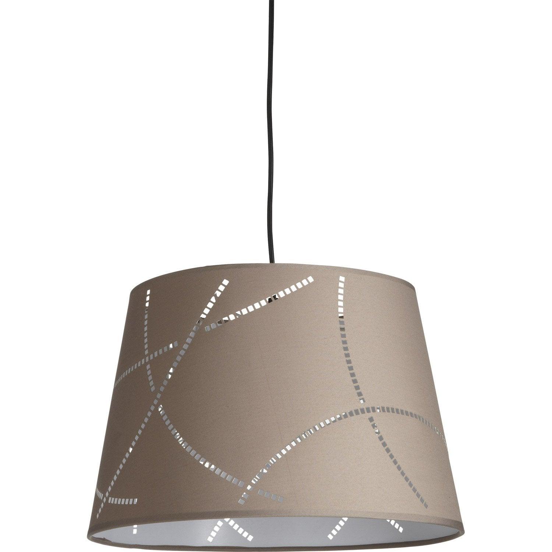 suspension design moove coton taupe 1 x 60 w mathias leroy merlin. Black Bedroom Furniture Sets. Home Design Ideas