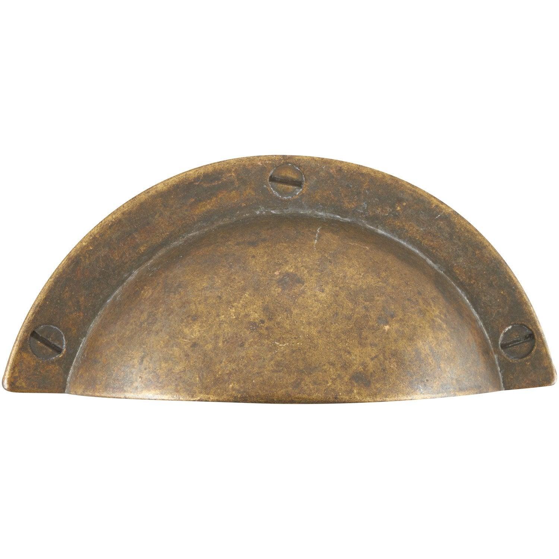 Poign e de meuble coquille zamak patin entraxe 64 mm for Leroy merlin poignee de meuble