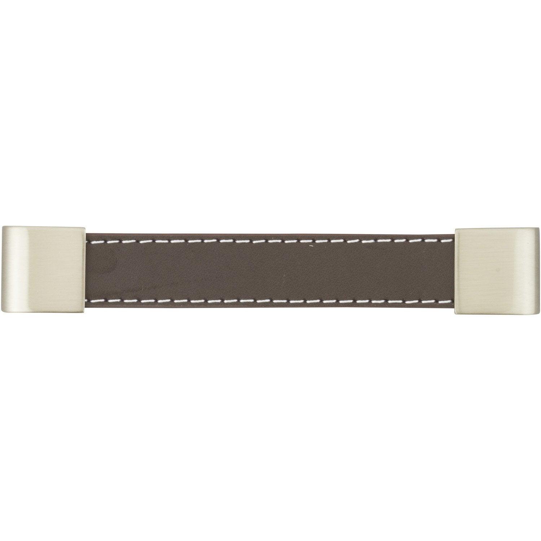 poign e de meuble cuir mat entraxe 128 mm leroy merlin. Black Bedroom Furniture Sets. Home Design Ideas