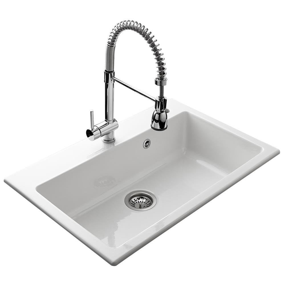 Evier encastrer c ramique blanc 1 cuve leroy merlin for Evier encastrable ceramique