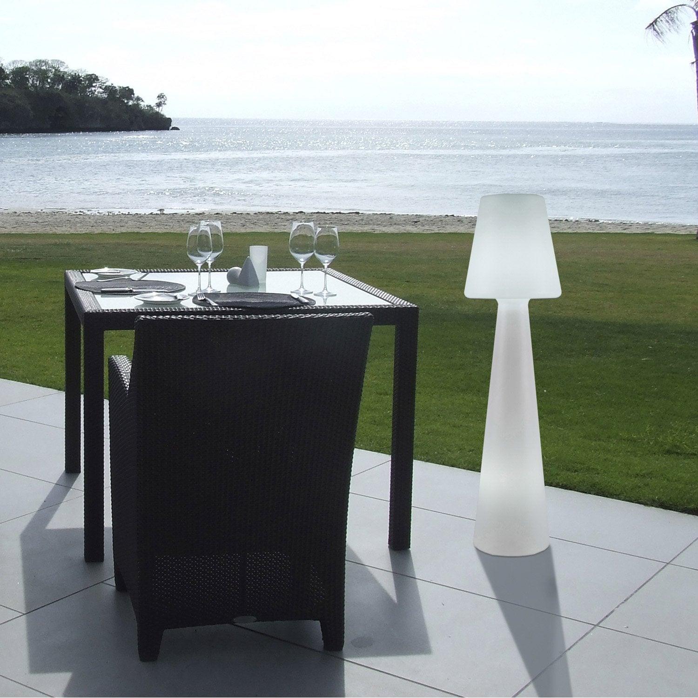 Lampadaire ext rieur lola 110 cm e27 25 w 880 lm blanc - Lampadaire interieur leroy merlin ...