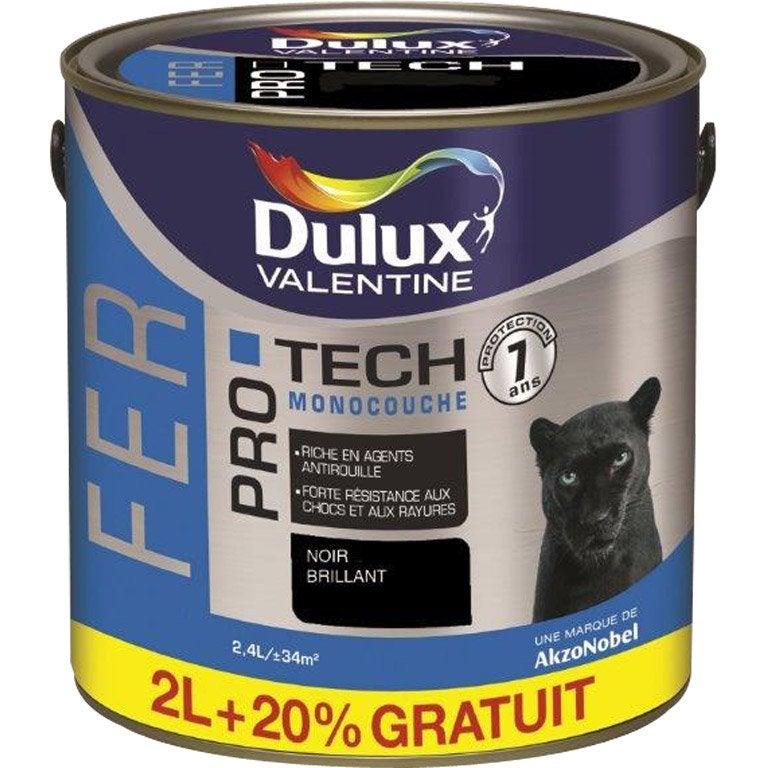 Peinture fer ext rieur dulux valentine noir 2 l leroy for Peinture exterieur leroy merlin