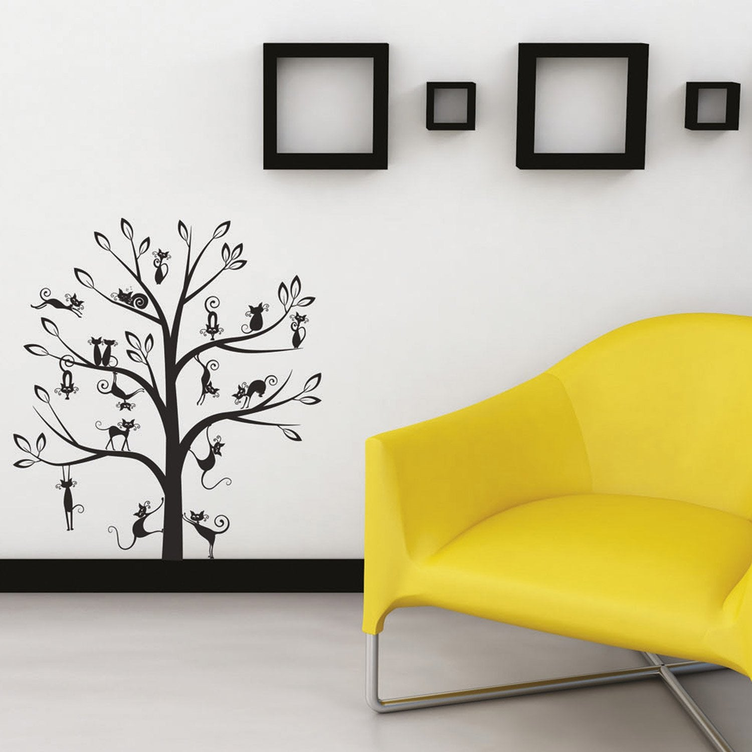 sticker arbre de chats 50 x 70 cm leroy merlin. Black Bedroom Furniture Sets. Home Design Ideas