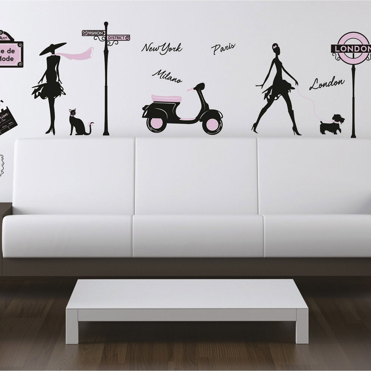 Sticker world fashion 50 cm x 70 cm leroy merlin - Stickers de porte leroy merlin ...