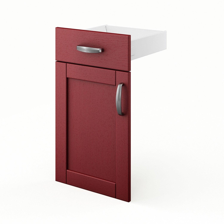 Porte et tiroir de cuisine rouge rubis x x cm leroy merlin for Cuisine leroy merlin rouge