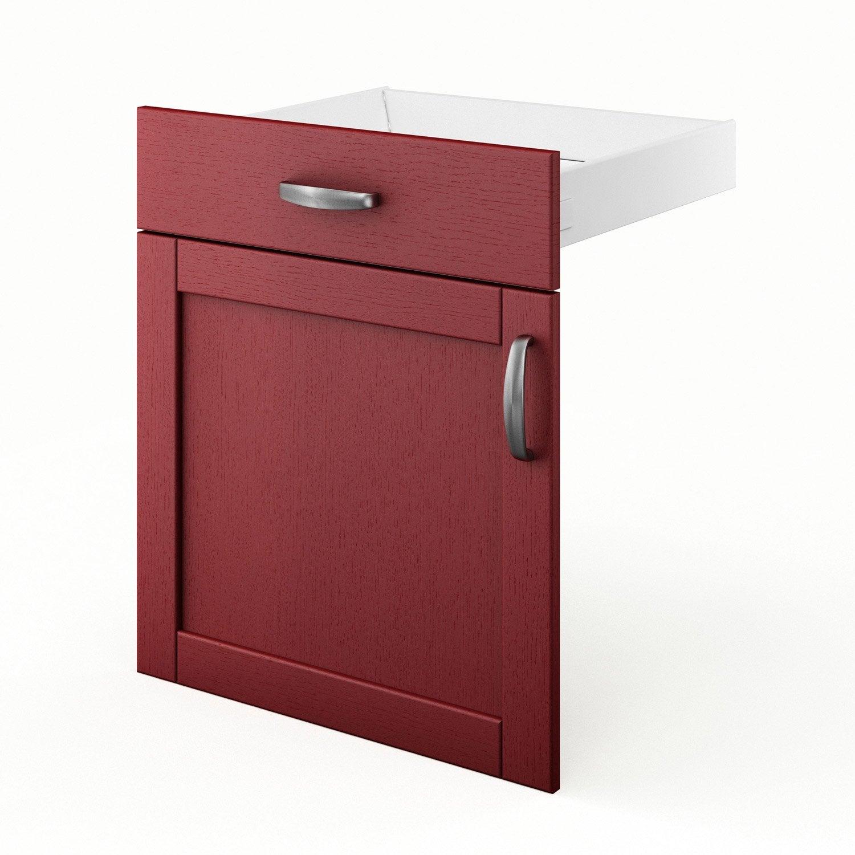 Porte tiroir de cuisine rouge fd60 rubis l60 x h70 x for Porte de cuisine leroy merlin