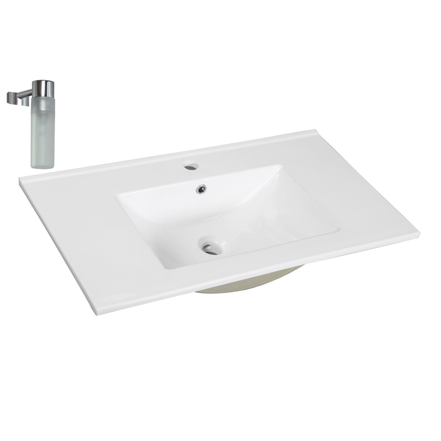 Plan vasque simple dado c ramique 61 cm leroy merlin for Enceinte encastrable salle de bain