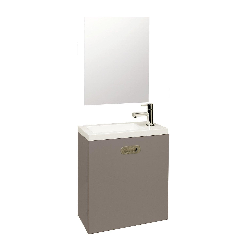 Meuble lave mains avec miroir nerea gris galet n 3 leroy for Meuble lave mains leroy merlin