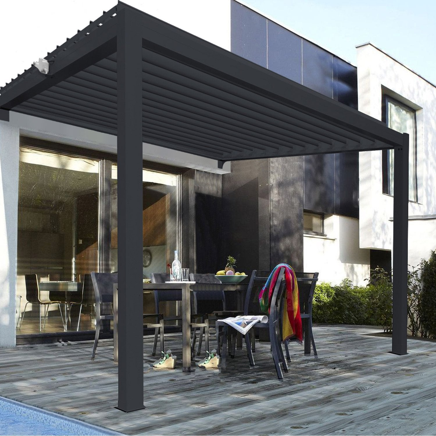 pergola adoss e aluminium gris anthracite 12 m leroy merlin. Black Bedroom Furniture Sets. Home Design Ideas