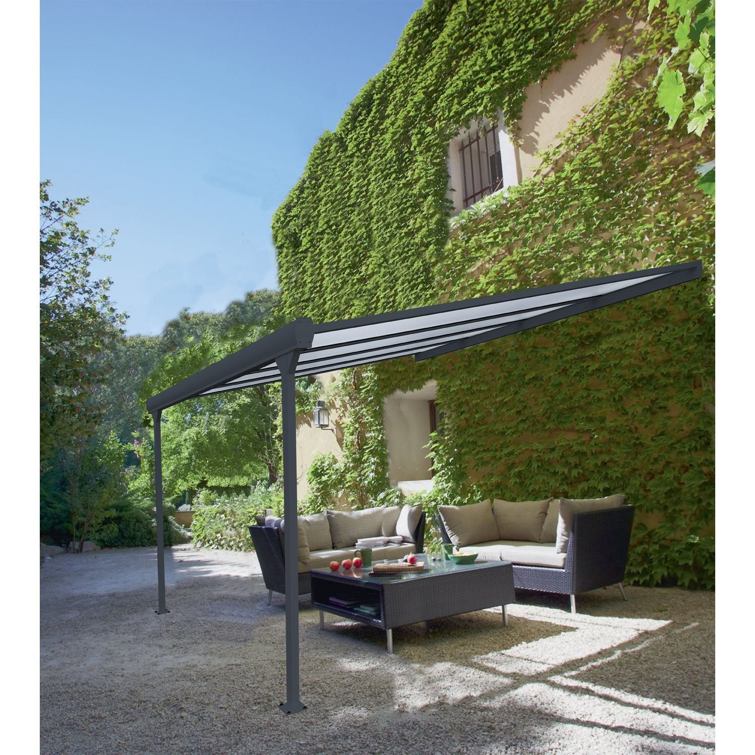 pergola adoss e leader aluminium gris anthracite 12 m leroy merlin. Black Bedroom Furniture Sets. Home Design Ideas