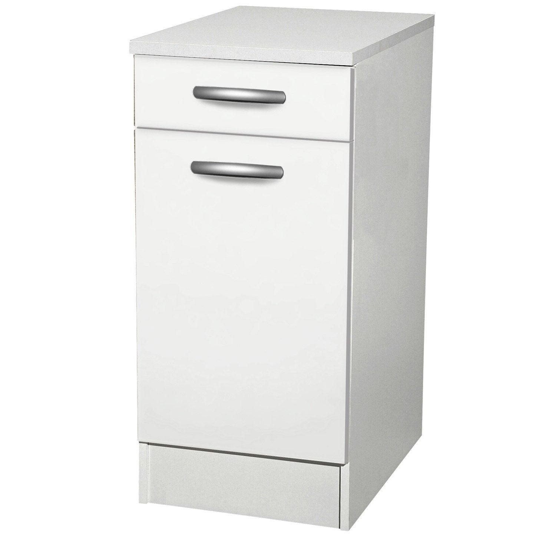 Meuble de cuisine bas 1 porte 1 tiroir blanc h86 x l40 - Meuble bas cuisine 40 cm largeur ...