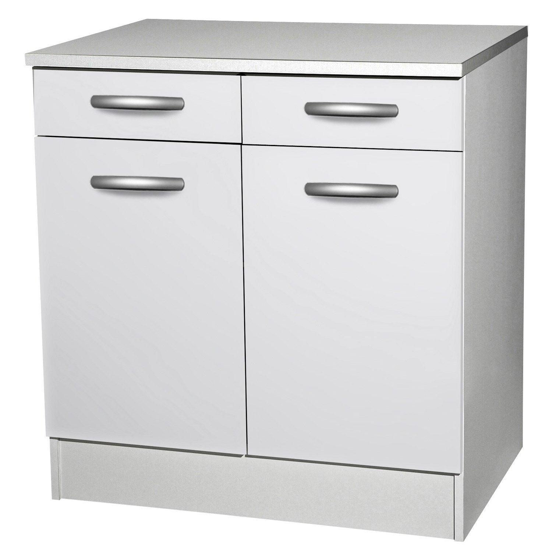 Meuble de cuisine bas 2 portes 2 tiroirs blanc h86 x - Meuble bas cuisine peu profond ...