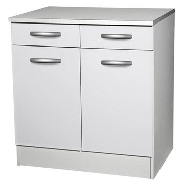 Meuble de cuisine bas 2 portes 2 tiroirs blanc h86 x for Meuble bas cuisine 2 portes 2 tiroirs