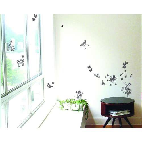 Sticker papillons miroir argent 21 cm x 29 7 cm leroy merlin for Stickers muraux leroy merlin