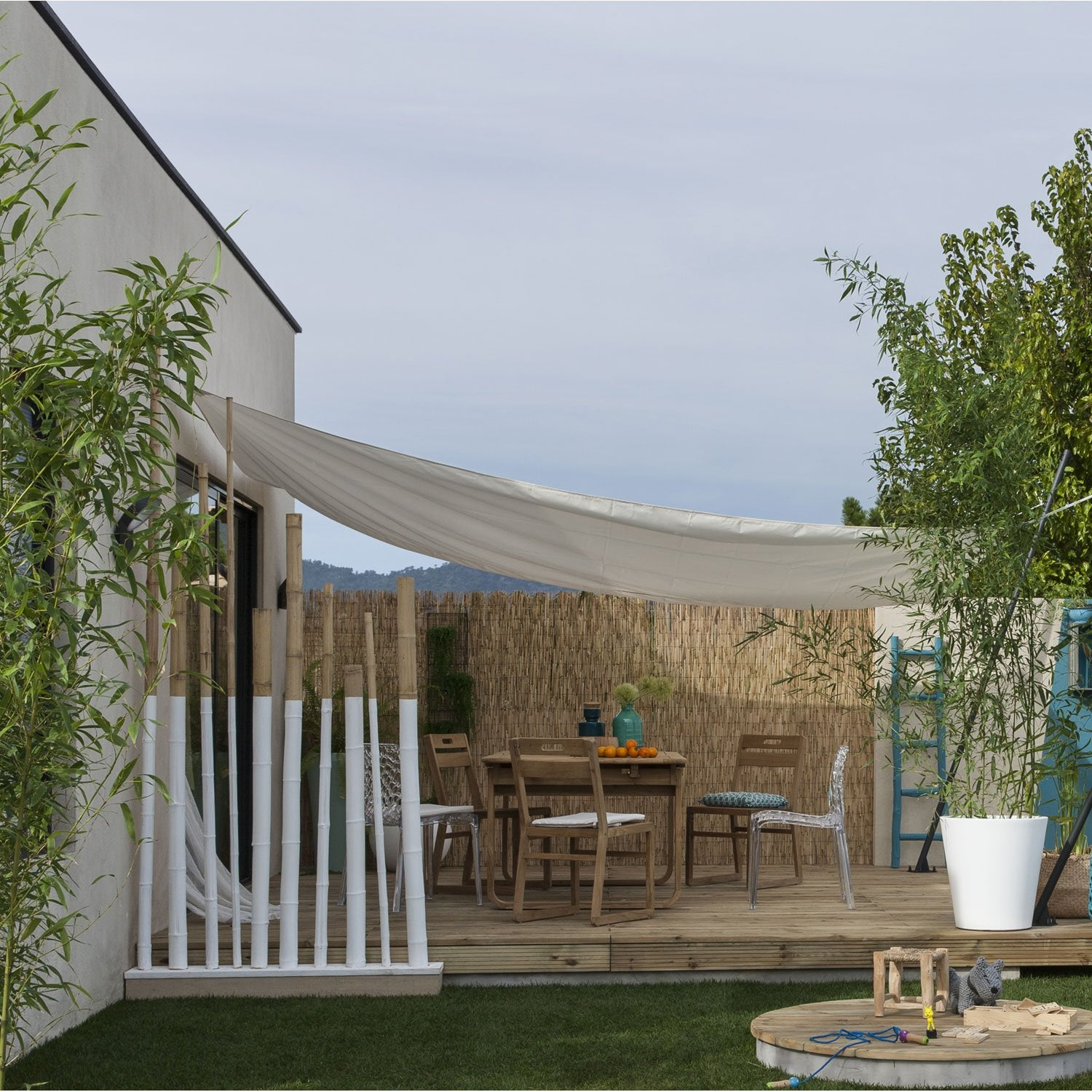 Voile d 39 ombrage rectangulaire naterial blanc ivoire n 5 300x400 cm le - Voile ombrage leroy merlin ...