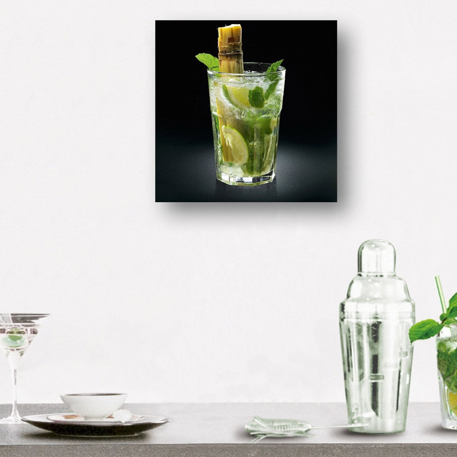 verre imprim yummy mojito deco glass x cm. Black Bedroom Furniture Sets. Home Design Ideas